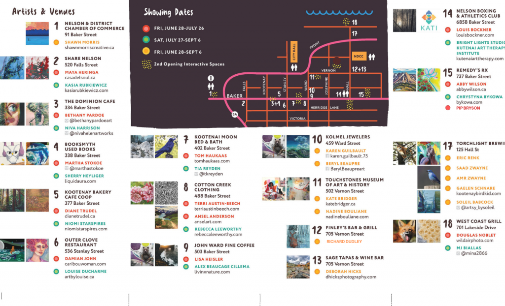 ArtWalk 2019 Map & Brochure - Nelson & District Arts Council on map for program, map for pamphlet, map for invitation,