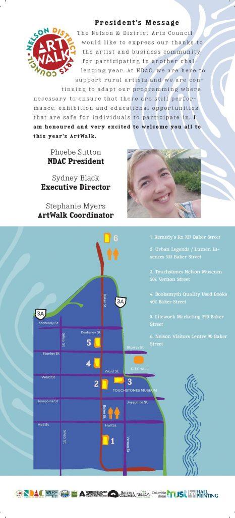 President's Message, Artwalk, Art Showcase 2021 Map