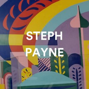 """Colourful mural with white text """"Steph Payne"""""""
