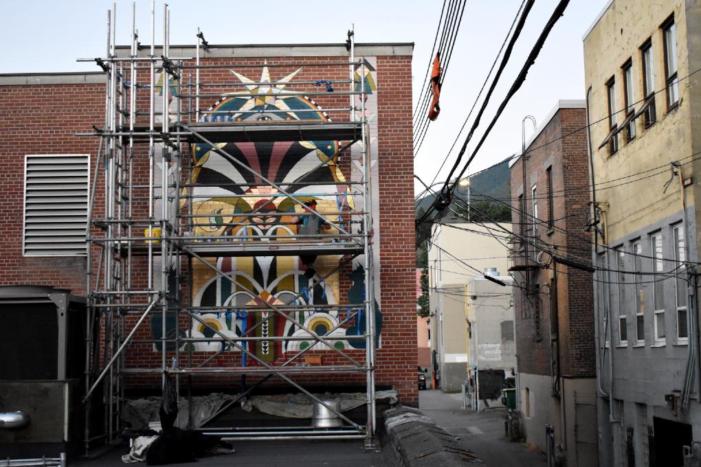 Lion's Gate Mural in progress