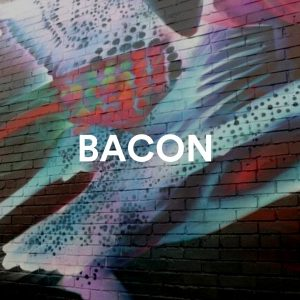 """Abstract art mural with text """"BACON"""""""